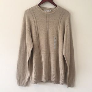 Geoffrey Beene Men's Sweater Khaki 100% Cotton